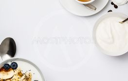 Healthy breakfast set on white background, top view,...