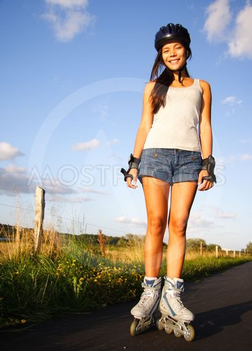 Woman on rollerblades