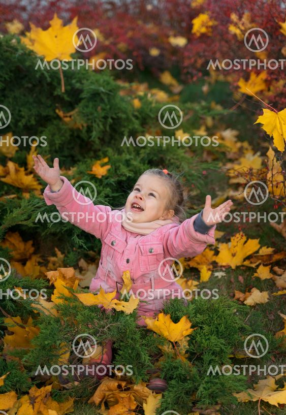 little girl with a bouquet of autumn yellow leaves