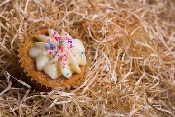sweet cupcake with butter cream on hay background