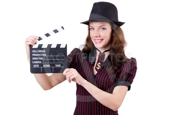 Woman gangster with movie board on white