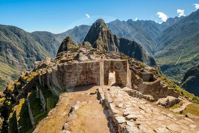 Machu Picchu entrance in ruined city