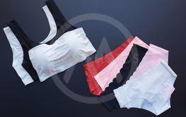 Thin fabric underwear. Set of female panties black