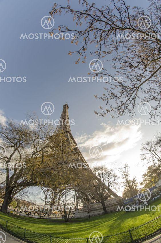 Upward view of Eiffel Tower in Paris