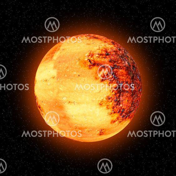 Orange sfære: planet, Månen eller solen.