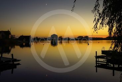 Moonlight waterfront postcard