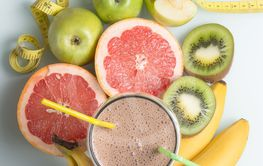 Sports protein shake with fruit