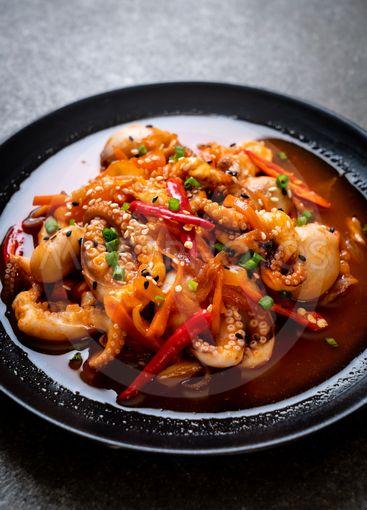 stir-fried octopus or squid with Korean spicy paste...