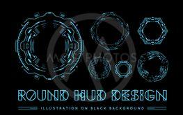 Round HUD futuristic user interface. Sci-Fi future...