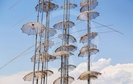 The sculpture Umbrellas located at the New Beach in...