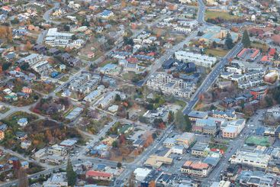 Aerial view of Queenstown, New Zealand.
