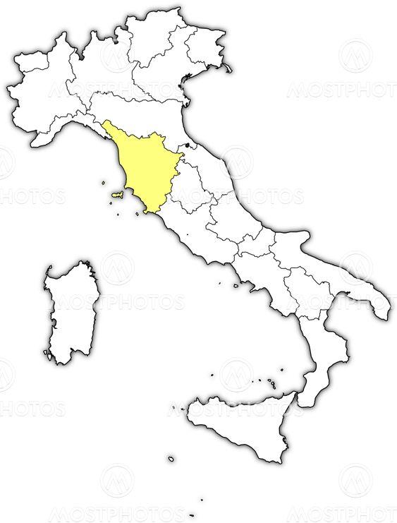 Map of Italy, Tuscany highl...\