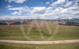 The road through the pasture between the hills with...