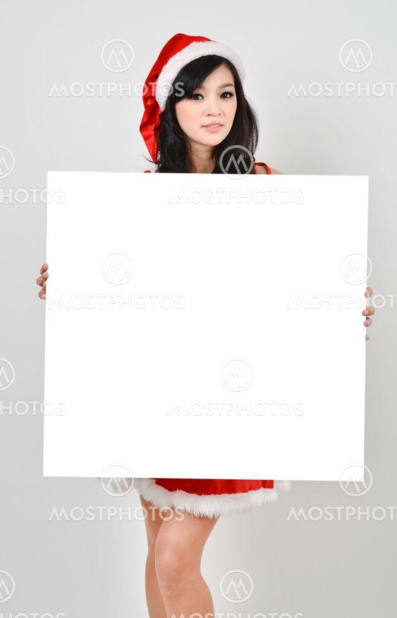 Santa nainen, jolla valkoinen juliste