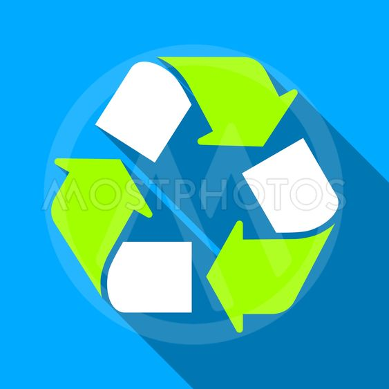 Recycle Flat Long Shadow Square Icon