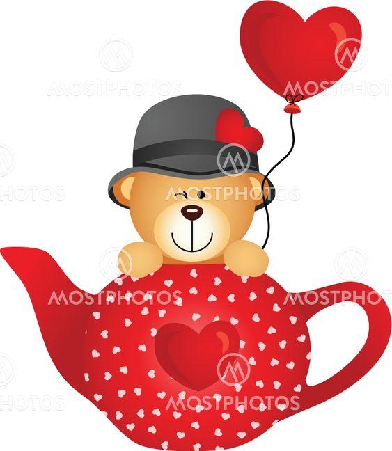 Teddy bear in red tea pot with heart balloon