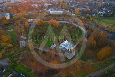 Porkhov Fortress (aerial photography). Pskov region, Russia