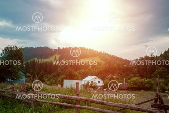 Mountain, beautiful landscape, a village in the...