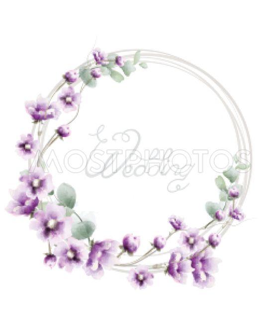 Lavender wreath wedding frame Vector watercolor. Floral...