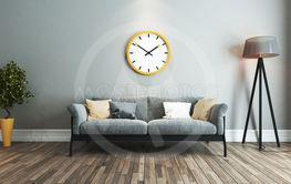 living room interior design idea with big yellow watch
