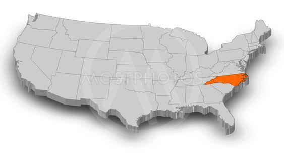 Map - United States, North Carolina - 3D-Illustration