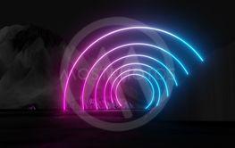 Glowing neon circles on dark background