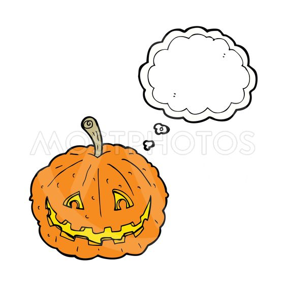 cartoon grinning pumpkin with thought bubble