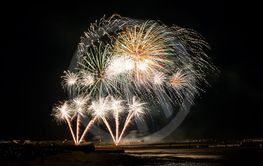 colorful Fireworks on quay of La Rochelle -...