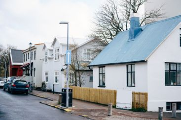 The facades of houses on the street in Reykjavik, the...