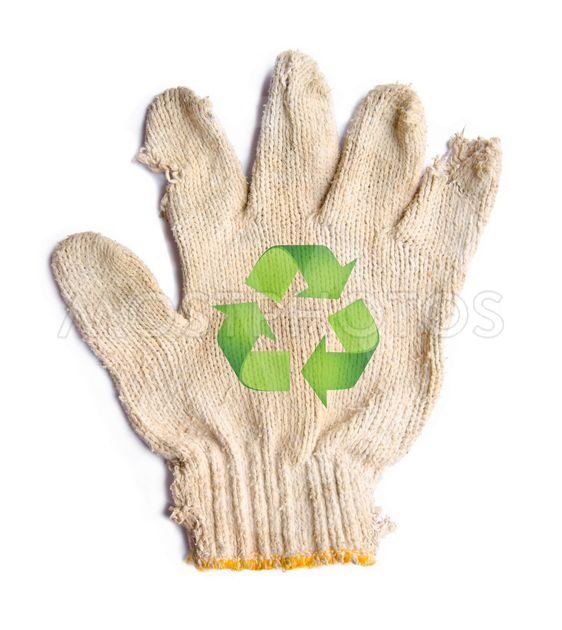 lack gloves fabric garbage