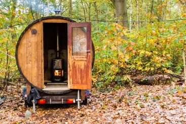 Outdoor sauna in the forest