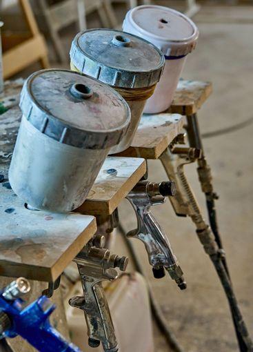 Painting chamber, spray gun. Furniture manufacture....