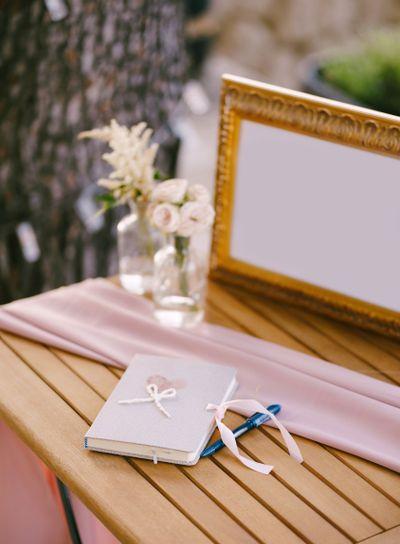 Wedding wish album. A notebook for wedding wish entries,...
