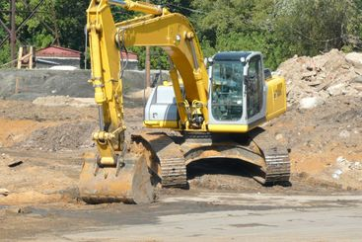 track-type excavator on ground