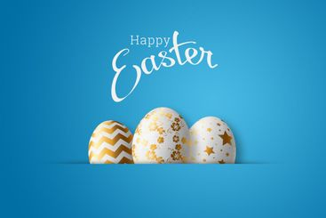 Happy Easter, painted Easter egg on a blue background....