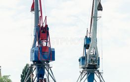 Sips in Sea port with cranes,