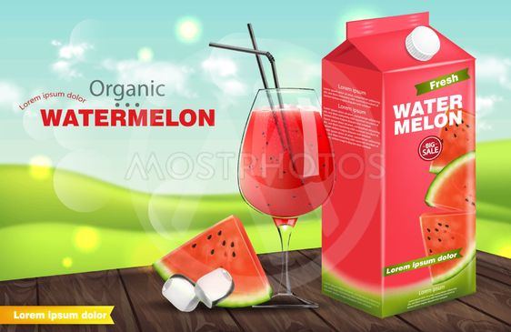 Watermelon juice Vector realistic. Product placement...
