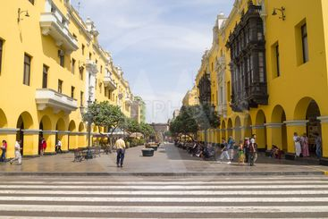 Colonial yellow building in Peru.