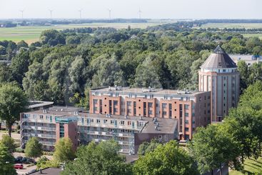 Apartment buildings in Emmeloord, Dutch city in a polder