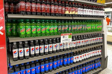 A display of Pepsi soft drink products aisle at a Publix...