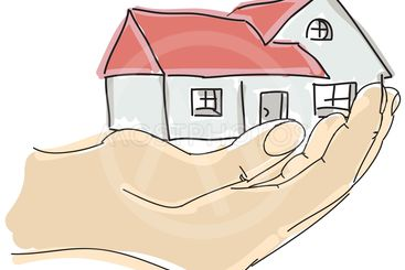 Drawn colored humans hand holding house