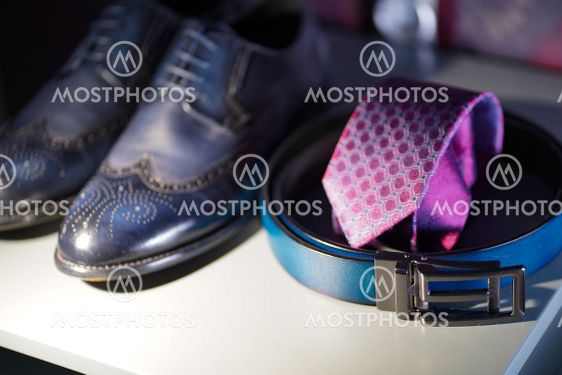 men's leather shoes, belt and tie. men's accessories. a...