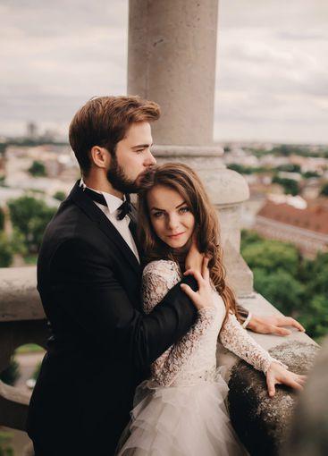 Happy newlywed. beautiful bride and stylish groom are...