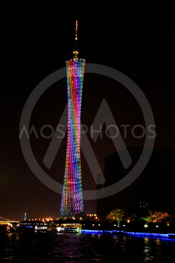 Canton tower, Guangzhou, China skyline on the Pearl River