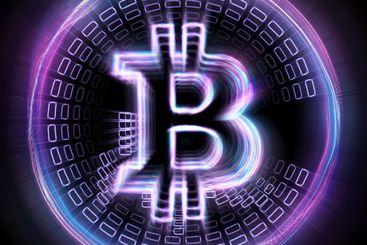 Bitcoin hologram isolated on black background....