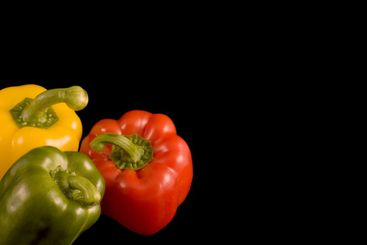 Bell Peppers on a black background