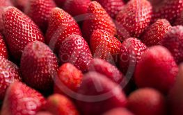 close up of red ripe strawberries