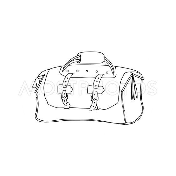 Vector illustration of travel bag. Hand drawing sketch...