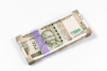 Bundle of new 500 rupee Indian currency