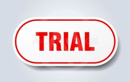 trial sign. trial rounded red sticker. trial